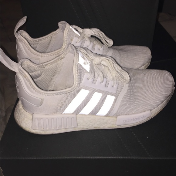 Adidas Shoes Nmd R1 All White Reflective Boost Sole Poshmark
